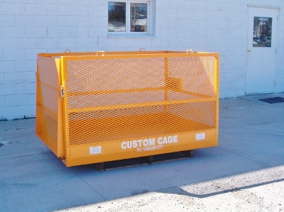 "FLM-46 Forklift Material Cage (48""x72""x42"") 2,000 lbs. w.l.l. Expanded metal sides, Forklift Attachments & Drop down Ramp"