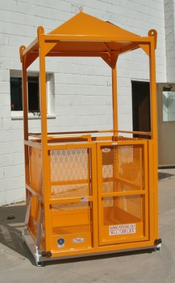 "M-44 Custom Cage (48""x48""x86"") Shown with the optional expanded metal side @ 42"" high, also shown quick pin test weight & solid steel peaked roof."