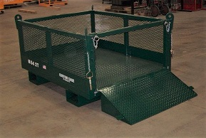 CUSTOM MATERIAL CAGE, CRANE SUSPENDED CAGE, FORK ATTACH CAGE, MATERIAL LIFTING CAGE, WORK PLATFORM