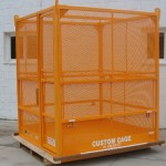 "M-672 FE Manbasket (72""x72""x86"") 1,500 lbs. w.l.l. Fully Enclosed comes with Sloped Solid Steel Roof with Escape Hatch."
