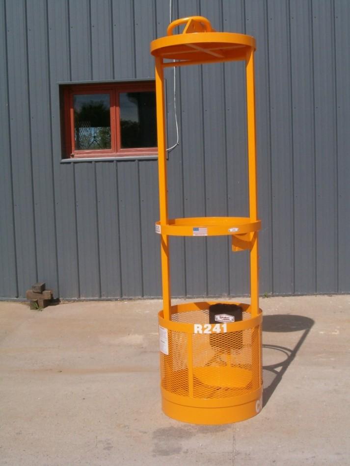 """R-241 Custom Cage Round Man Basket 24"""" Diameter X 84"""" 300 lbs. W.L.L."""