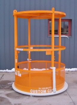 "R-60 Custom Cage Manbasket 60"" Diameter x 84"" 1,000 lbs. W.L.L. With Flat Solid Steel Roof & 4 Lifting Eyes"