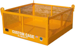 material cages, material handling cage, crane suspended cages, platforms for material, debris boxes, debris cages, lift platforms, lift equipment, equipment lifts