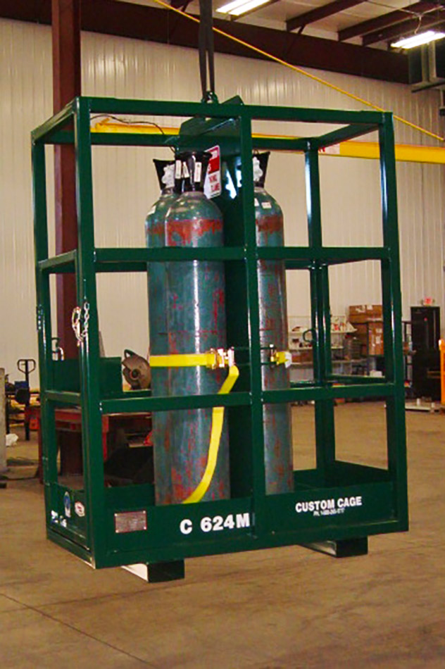 Gas Cylinder Cages,custom welding,Lakeshore Industrial, Two River, WI, custom crane cages,man baskets,equipment baskets,gas cylinder baskets