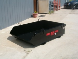 max box 2000 manual dump box, debris box, trash box, dirt removable, construction box, roofing debris cage, skip pan
