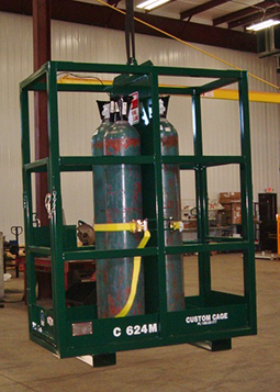 C-624M Gas Cylinder Cage, cylinder lifting cages, material handling bottle cage, cylinder racks. Lakeshore Industrial,Two Rivers, Wisconsin