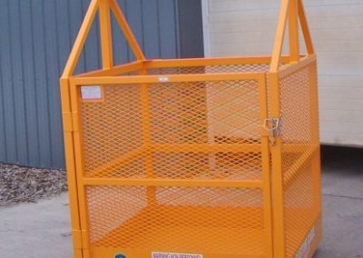 M-444 Custom Material Lift Cage, material cages, material handling cage, crane suspended cages, platforms for material, debris boxes, debris cages, lift platforms