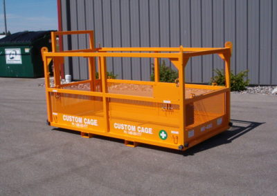 "Med-Evac Rescue Platform / Manbasket ME-488 48"" x 96"" x 44"" W.L.L. 1,000 lbs., shown with optional, rubber corner bumpers. Used to safely rescue injured workers on jobsite. M-301 Custom Cage Manbasket / Man Basket, Crane Suspended Cage, Personnel Lifting Cage, Work Platform, Lifting Basket, Work Cage, Man Working Cage"