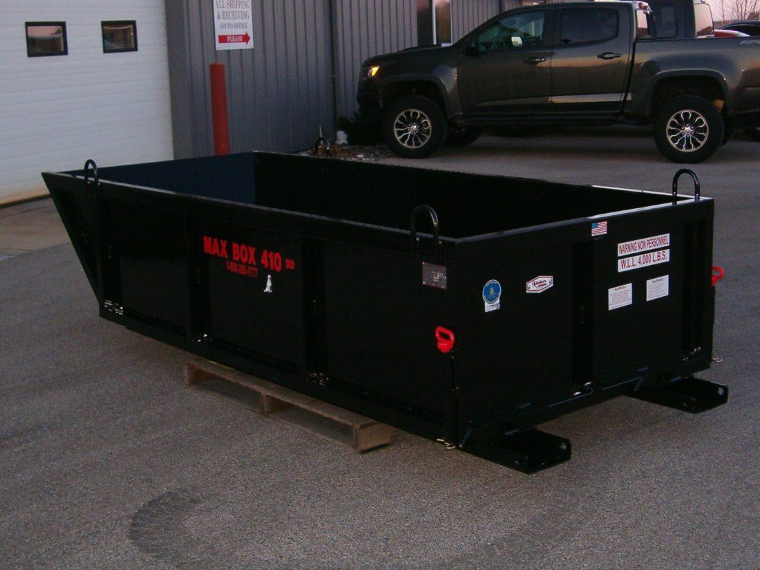 Max Box 410 DD Double Dumper Material Dump Box, debris box, skip pan, manual dump box,manbaskets, lakeshore industrial,material handling basket