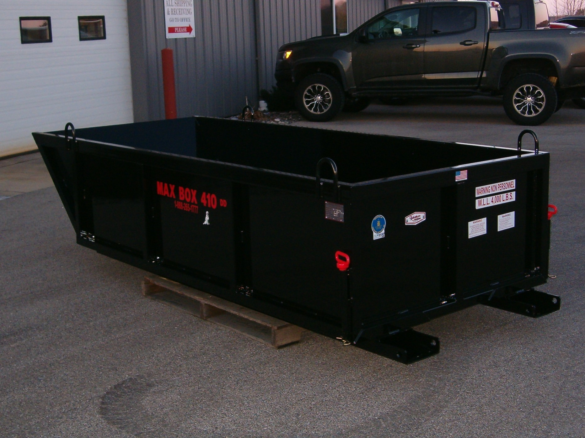 Max Box 410 DD Double Dumper Material Dump Box, debris box, skip pan, manual dump box